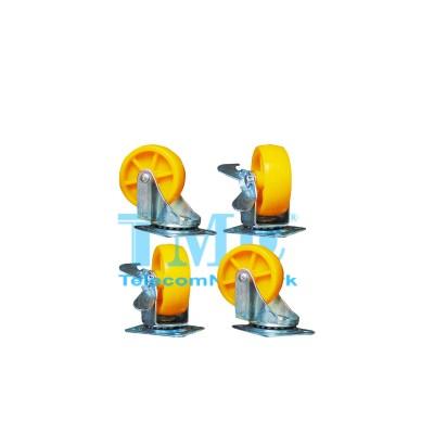 Bộ bánh xe đẩy tủ vàng 2 vòng bi có khóa hãm 50mm