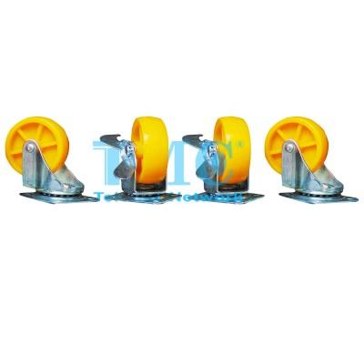 Bộ bánh xe đẩy tủ vàng 2 vòng bi có khóa hãm 60mm